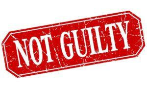 Not guilty banner