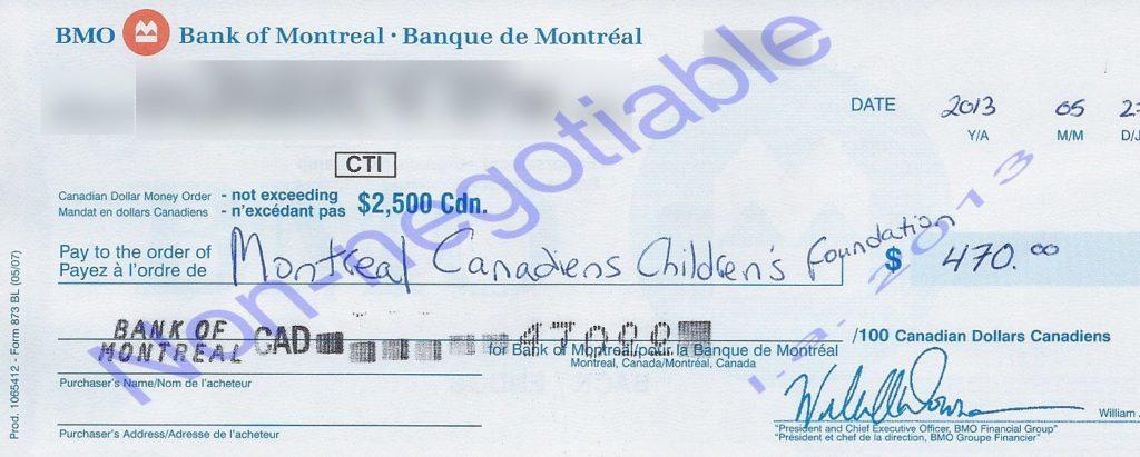 Money order for $470