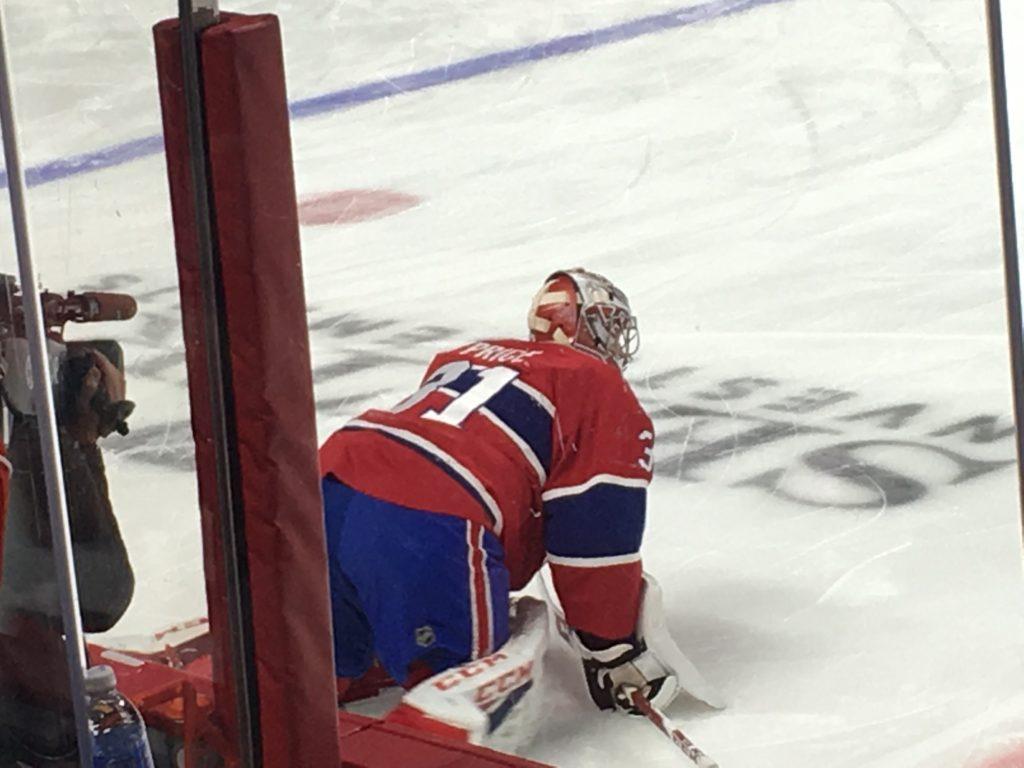 Carey Price stretching